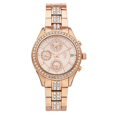 Jennifer Lopez Rose Gold Tone Stainless Steel Crystal Chronograph Watch - Women