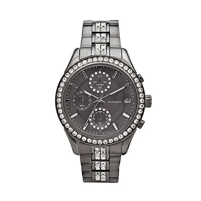 Jennifer Lopez Gunmetal Stainless Steel Crystal Chronograph Watch - Women