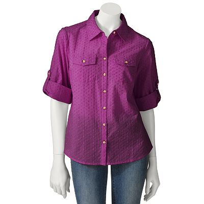 Croft and Barrow Eyelet Button-Tab Shirt - Petite