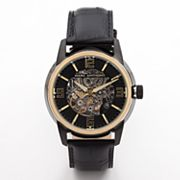 Marc Anthony Two Tone Stainless Steel Leather Automatic Skeleton Watch - Men