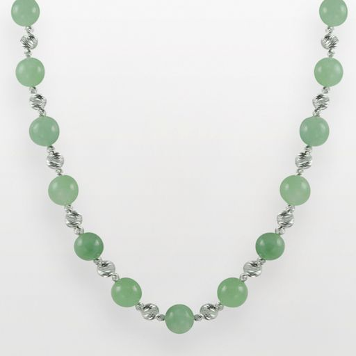 Sterling Silver Jade Bead Necklace