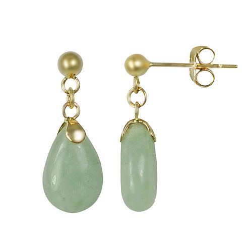 10k Gold Jade Drop Earrings