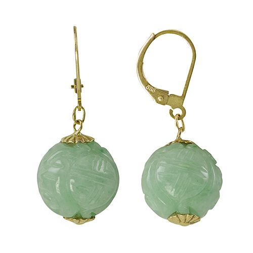 14k Gold Jade Ball Drop Earrings