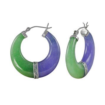 Sterling Silver Jade Hoop Earrings