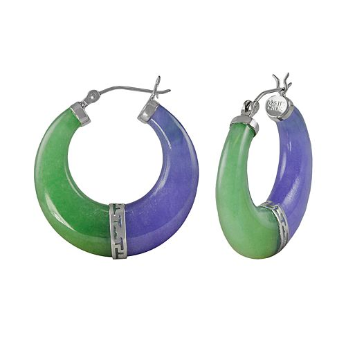 Sterling Silver Jade Hoop Earrings