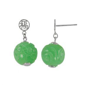 Sterling Silver Jade Bead Drop Earrings