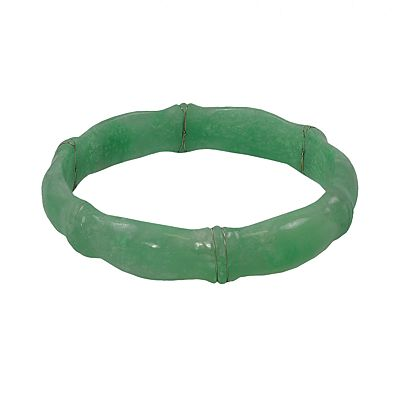 Sterling Silver Jade Bangle Bracelet