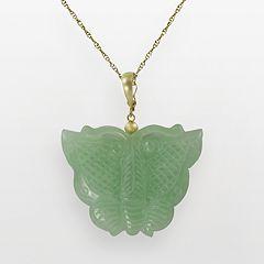 10k Gold Jade Butterfly Pendant