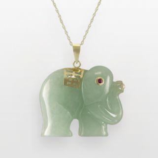 10k Gold Jade and Ruby Elephant Pendant