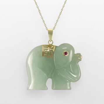 10k Gold Jade and Ruby Elephant Pendant