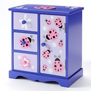 Wood Ladybug and Flower Jewelry Box