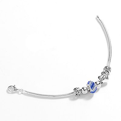 Individuality Beads Sterling Silver Genuine Crystal & Bead Family Snake Chain Bracelet