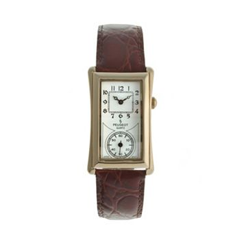 Peugeot Vintage Gold Tone Leather Watch - 2038G - Men