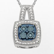 Azure Sterling Silver Blue and White Diamond Accent Frame Pendant