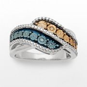 Azure Sterling Silver Tri-Tone Blue, Champagne and White Diamond Accent Bypass Ring