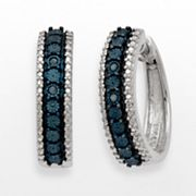 Azure Sterling Silver Two Tone Blue Diamond Accent Hoop Earrings