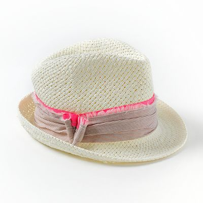 Apt. 9 Striped Ribbon Straw Fedora