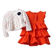 Carter's Solid Bodysuit Dress and Polka-Dot Cardigan Set - Baby