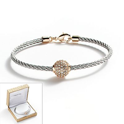 14k Gold Plated and Stainless Steel Crystal Bead Cable Bracelet