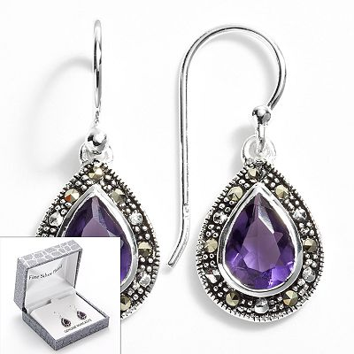 Silver Plate Simulated Amethyst and Marcasite Teardrop Earrings