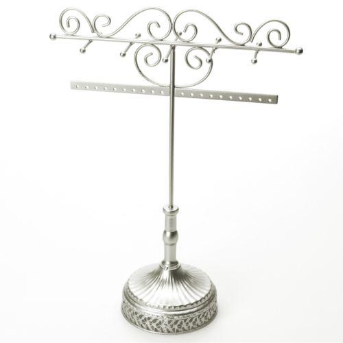 Silver Tone Scroll Jewelry Stand