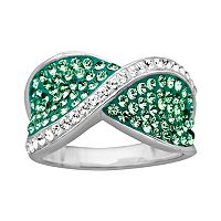 Artistique Sterling Silver Crystal Crisscross Ring - Made with Swarovski Crystals