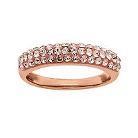 Artistique 18k Rose Gold Over Silver Crystal Ring - Made with Swarovski Crystals