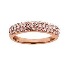 Artistique 18k Rose Gold Over Silver Crystal Ring - Made with Swarovski Crystals