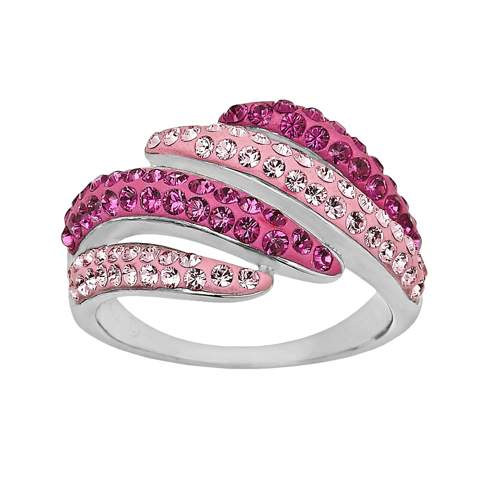 Artistique Sterling Silver Crystal Bypass Ring - Made with Swarovski ...