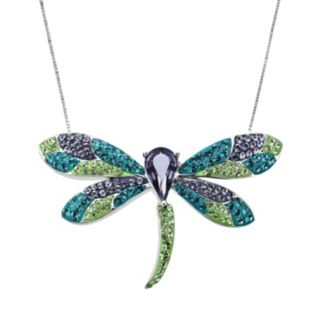 Artistique Sterling Silver Crystal Dragonfly Pendant - Made with Swarovski Crystals