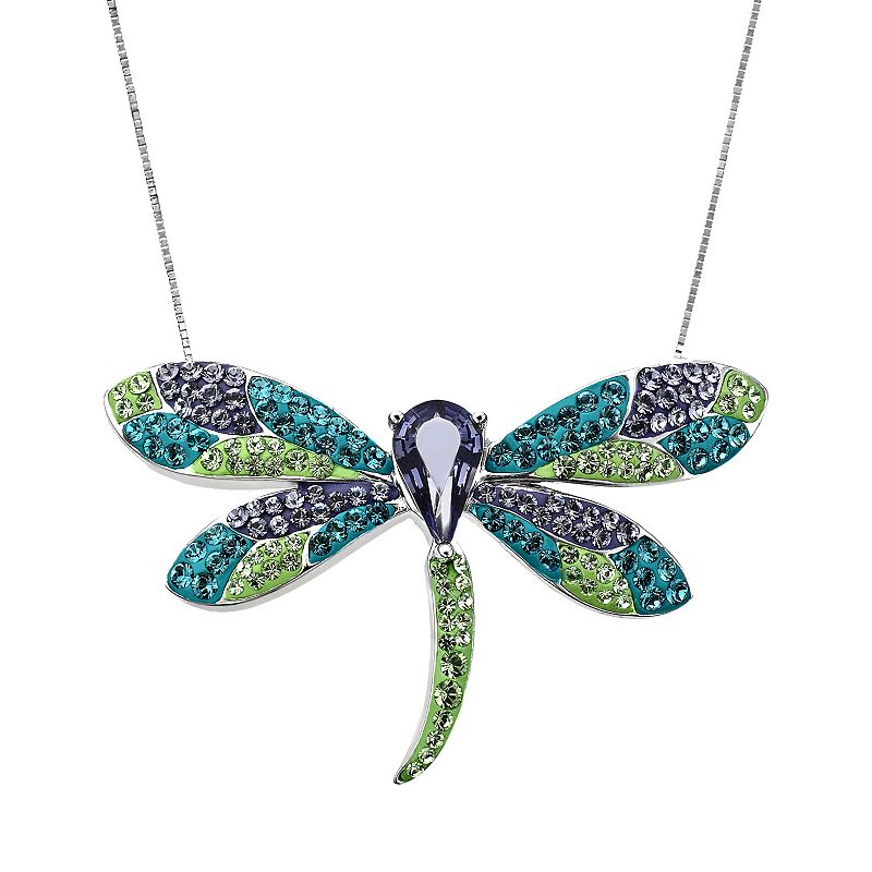 Artistique Sterling Silver Crystal Dragonfly Pendant - Made with Swarovski Elements
