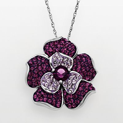 Artistique Sterling Silver Crystal Flower Pendant - Made with Swarovski Elements