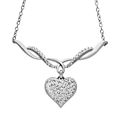 Artistique Sterling Silver Crystal Heart Pendant - Made with Swarovski Elements