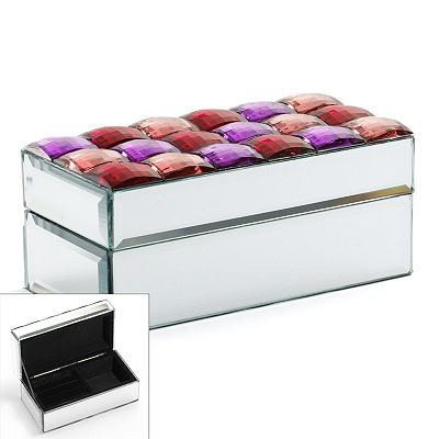 Mirror and Simulated Crystal Jewelry Box