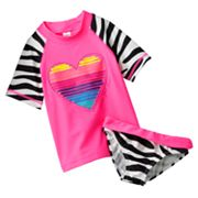 OshKosh B'gosh Heart and Zebra 2-pc. Rash Guard Set - Girls 4-6x