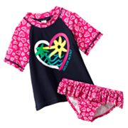 OshKosh B'gosh Catchin Waves Heart 2-pc. Rash Guard Set - Girls 4-6x