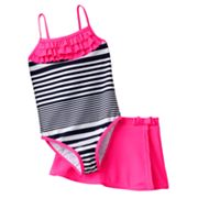 Carter's Striped One-Piece Swimsuit and Cover-Up Skirt Set - Girls 4-6x