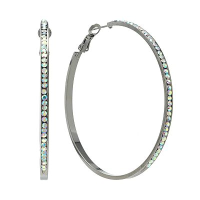 Candie's Jet Simulated Crystal Hoop Earrings