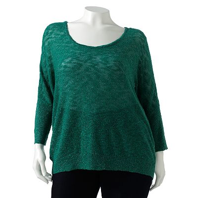 Jennifer Lopez Lurex Open-Work Dolman Sweater - Women's Plus