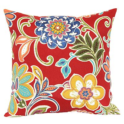 Croft and Barrow Red Floral Outdoor Pillow