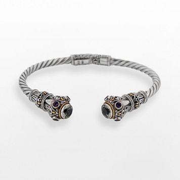 14k Gold Over Silver & Sterling Silver Green Quartz & Amethyst Twist Cuff Bracelet