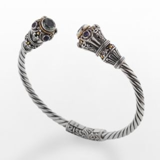 14k Gold Over Silver and Sterling Silver Green Quartz and Amethyst Twist Cuff Bracelet