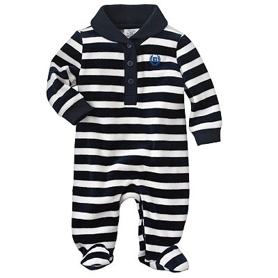 Chaps Striped Velour Coveralls - Baby
