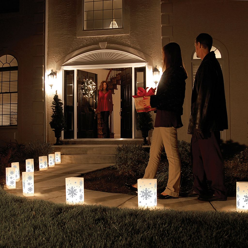 LumaBase 10-pk. Snowflake Electric Luminarias with Lumabases