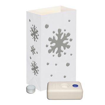 LumaBase 12-pk. Snowflake Tealight Candle Luminarias