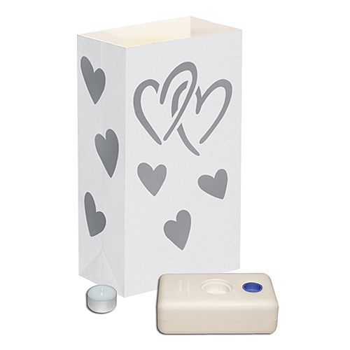 LumaBase 12-pk. Heart Tealight Candle Luminarias