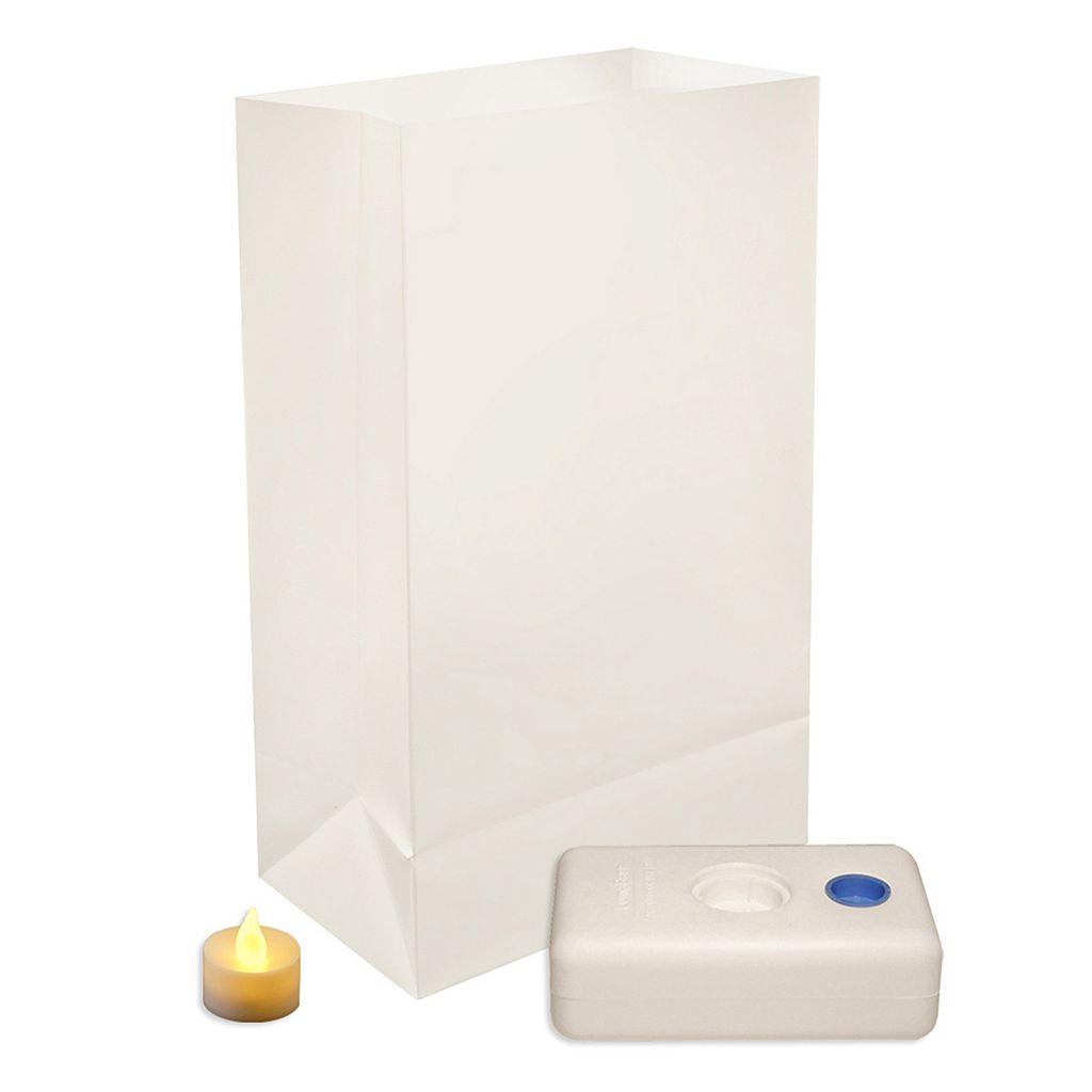 LumaBase 12-pk. Flameless Tealight Candle Luminarias - Indoor & Outdoor