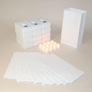 LumaBase 12-pk. Flameless Tealight Candle Luminarias - Indoor and Outdoor