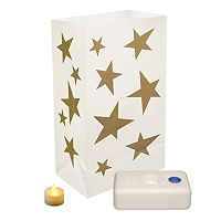 LumaBase 12-pk. Stars Flameless Tealight Candle Luminarias - Indoor & Outdoor