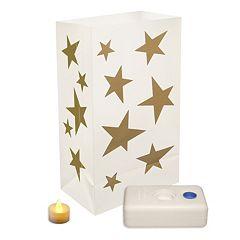 LumaBase 12-pk. Stars Flameless Tealight Candle Luminarias - Indoor & Outdoor